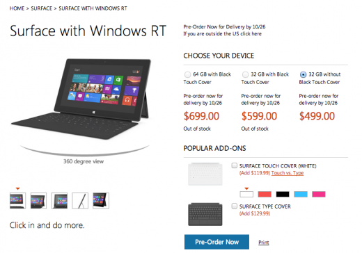 Screen Shot 2012 10 16 at 12.56.08 520x364 The Microsoft Surface RT tablet to cost $499, or $599 with Touch Cover