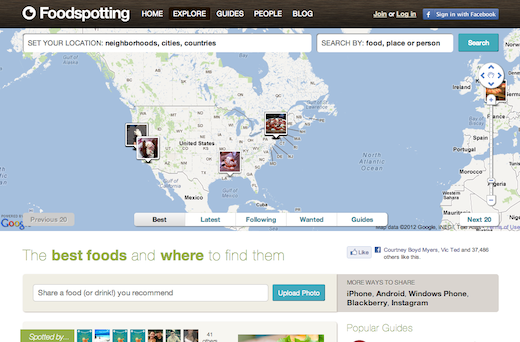 Screen Shot 2012 10 17 at 12.37.56 PM Foodspotting redesigns its site with a fresh and minimalist new look that emphasizes discovery