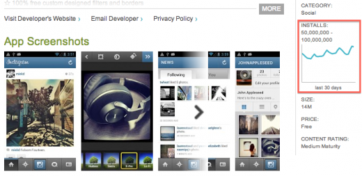 Screen Shot 2012 10 17 at 15.25.03 520x253 Instagrams Android app reaches 50 million downloads on Google Play