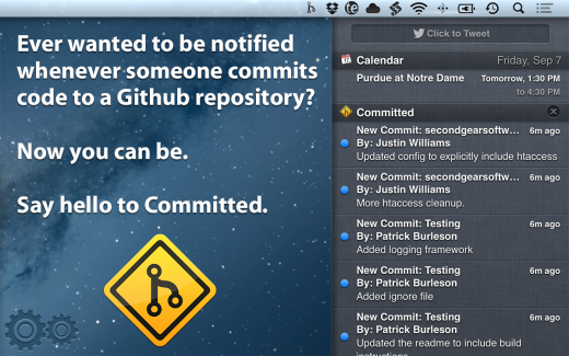 Screenshot 00 520x325 Committed uses OS Xs Notification Center to let you know when someone pushes code to a GitHub repo