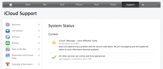 Snap 2012 10 30 at 14.51.06 520x220 Apples iCloud services including iMessage appear to have returned to normal after short outage