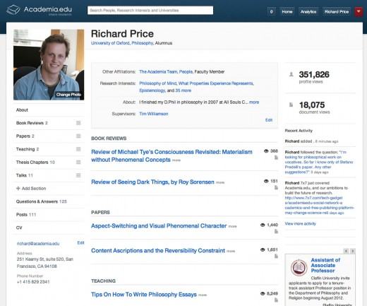 Scholarly sharing site Academia.edu spruces up its profiles to ...