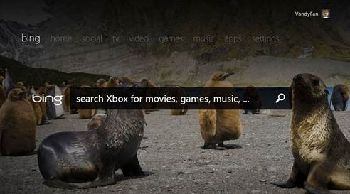 Bing on Xbox screenshot
