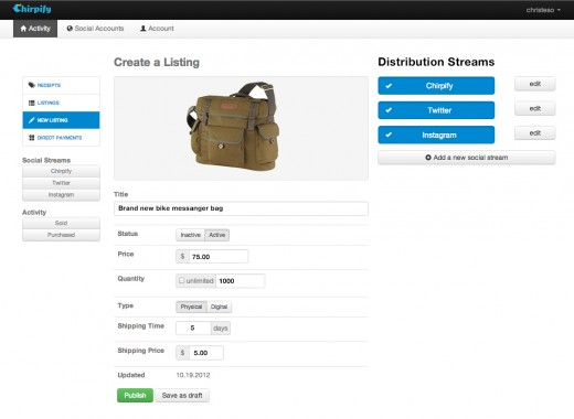 dashboard 520x380 Chirpify expands beyond Twitter, integrates its simple in stream commerce platform with Instagram