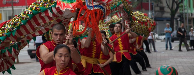 Brazilians rehearse the Dragon dance for