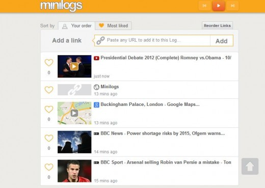 e2 520x369 Minilogs: A bookmarking tool and media player that turns your links into playlists