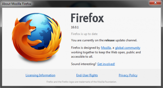 firefox 1601 520x281 As promised, Mozilla releases updated Firefox 16 with security patch for Windows, Mac, and Linux