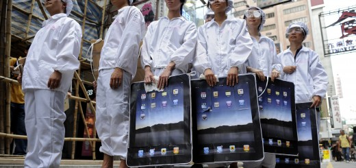 Participants dressed up to represent Foxconn