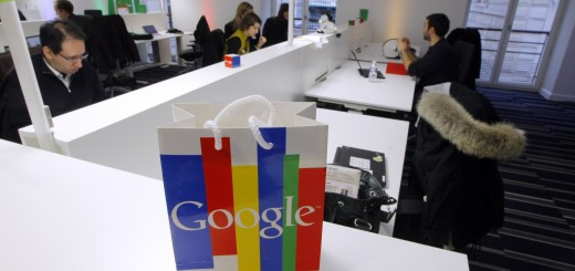 Employees work in the Google France new