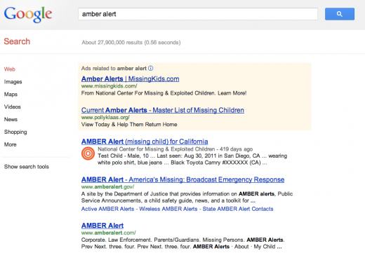 google amber alert 520x361 Google Search and Maps gets Amber Alerts for missing children in your area