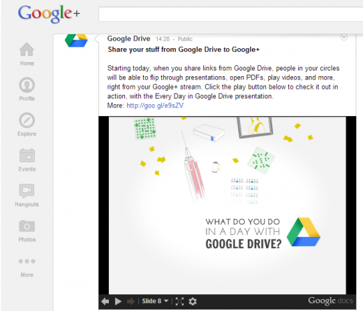google plus drive 520x445 Google+ users can now view your shared Google Drive documents right in their stream