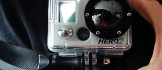 A man holds a camera GoPro on March 20,