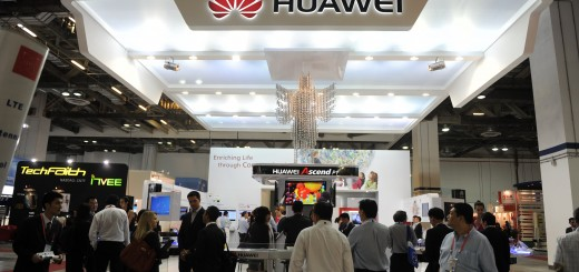 Visitors gather at the Huawei both durin
