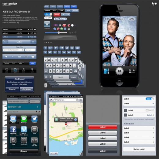 Design studio Teehan+Lax updates their great UI design templates for iOS 6 and iPhone 5