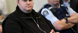 Megaupload boss Kim Dotcom looks as he i