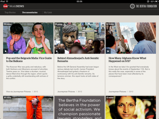 link tv app documentaries 520x390 LinkTV World News for the iPad wants to reinvent global news for the YouTube era