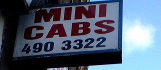 mini cabs sign fabbio