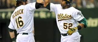 Oakland Athletics outfielder Yoenis Cesp