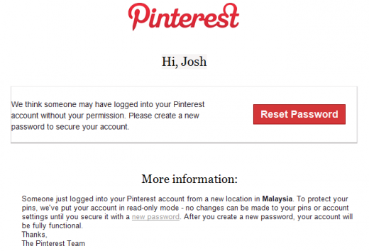 pinterest hacked 520x354 Pinterest users still seeing hacked accounts spilling spam onto Facebook, Twitter