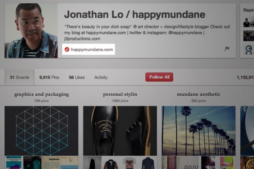 pinterest verified 520x346 Pinterest announces website verification, much like Twitter and Facebook verified accounts