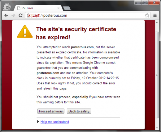 posterous ssl fail 520x426 Is Twitter about to kill Posterous? SSL certificate has expired, promised export function still MIA