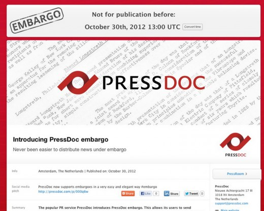 presdoc embargo example 520x416 PressDoc Embargo launches to make life easier for journalists and PRs alike