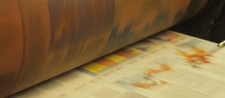 Printing, Webb Press in action, four colour, roll paper in press