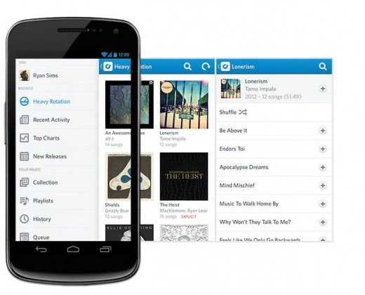 rdio android beta1 520x420 Rdios new beta app for Android sports redesigned player and remote control
