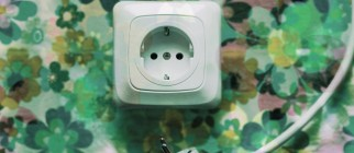 Electrical plug and outlet with floral wallpaper