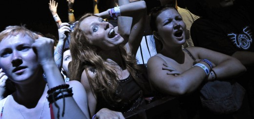 Fans cheer during a concert by the 'Whit