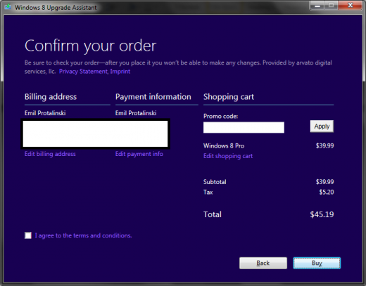 windows 8 loophole 14 520x407 Microsoft site loophole lets anyone buy Windows 8 Pro for just $15