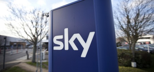 A Sky sign is pictured at the British Sk