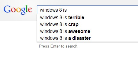 2012 11 18 11h02 42 Google doesnt appear to think much of Windows 8, and Bing isnt nicer
