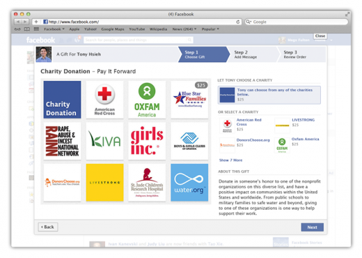 Charity Gifting 109d 520x370 Facebook Gifts gets ability to make charitable contributions on behalf of friends