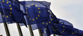 European flags flutter in the wind on Ju