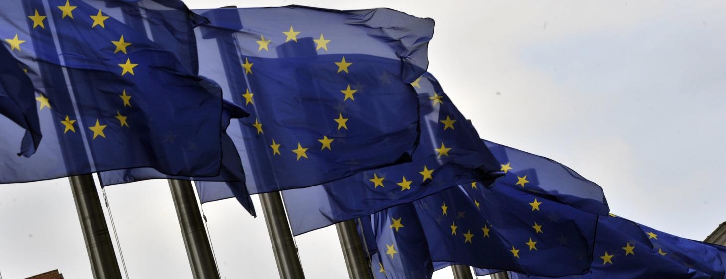European flags flutter in the wind on Ju