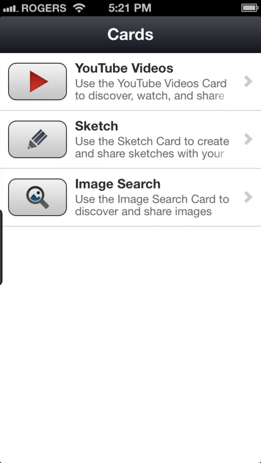 FOUR Cards 520x923 Now at 30m users, Kik introduces subtle multimedia sharing feature (its path to making money)