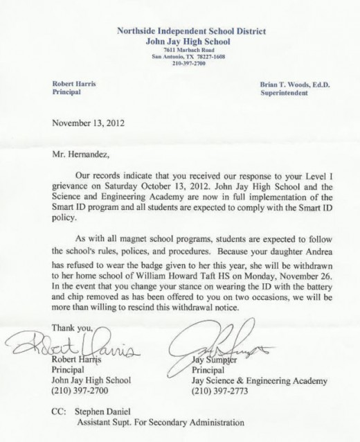Hernandez RFID ID john jay letter 520x638 Judge temporarily saves teenage girl facing suspension for refusing to wear RFID tag in school