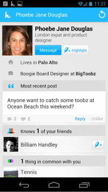 Highlight Android Profile top 220x391 Highlight launches on Android and brings better profiles, 'high fives', and more to its iOS app