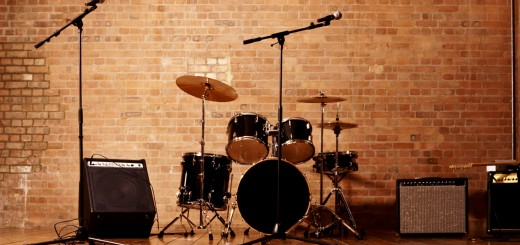 Drum Kit, Microphones and Loudspeakers in a Studio