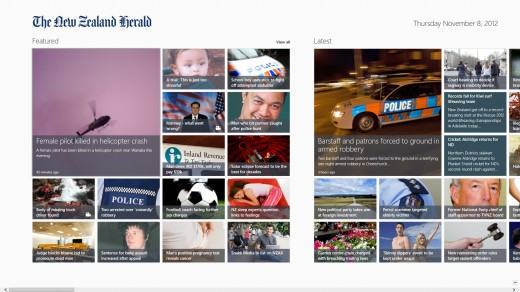 NZHerald 520x292 25 inspiring Windows 8 app designs