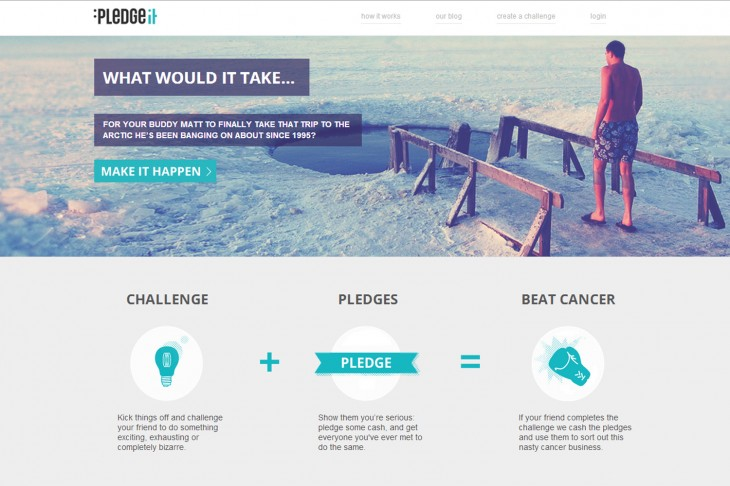 Pledgeit screen cap 730x486 UK charity launches crowdfunding site for users to challenge friends with fundraising activities