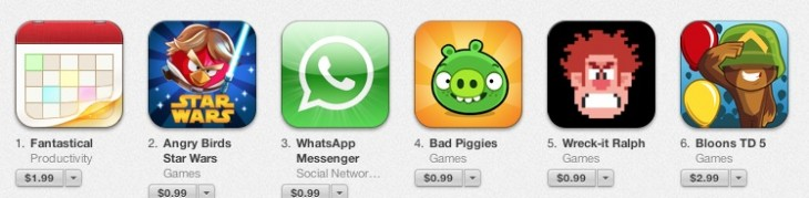 Screen Shot 2012 11 29 at 11.31.34 AM 730x179 Fantastical eclipses Angry Birds to become the top paid iPhone app in Apples App Store