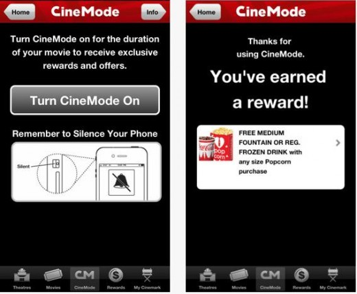 a13 520x428 Cinemarks mobile app now rewards patrons for not using their mobile phones during movies