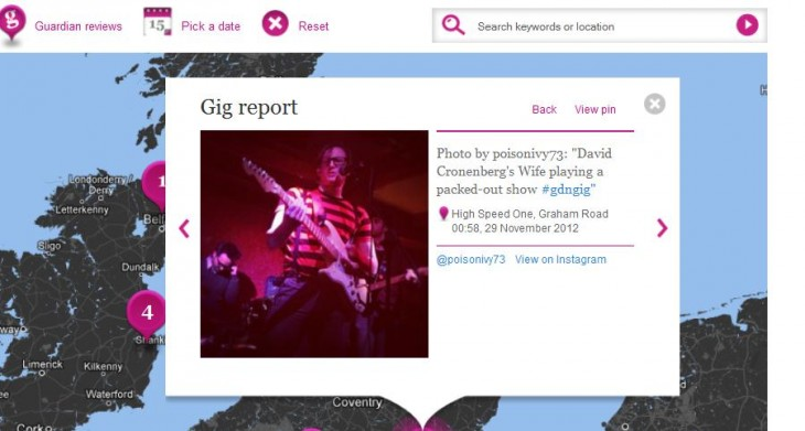 c5 730x391 The Guardians N0tice platform gets a live music mapping tool, showing fans tweets and Instagram snaps