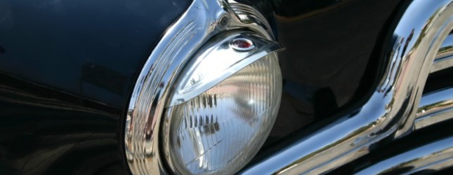 1947 ink blue family car- headlight detail