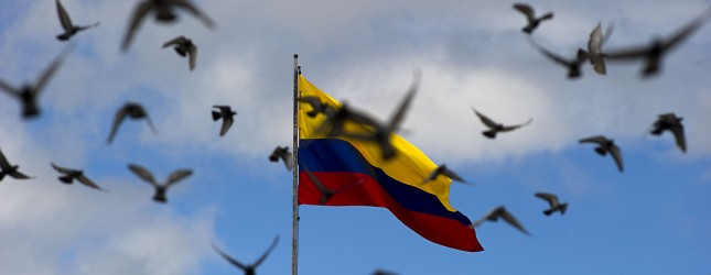 Doves fly around a Colombian flag during