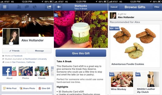 Facebook iOS mobile app update -- Facebook Gifts screenshot