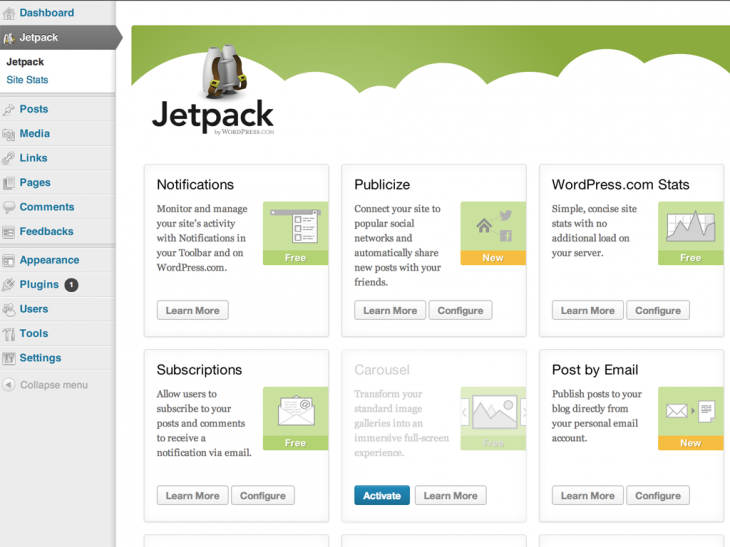 jetpack settings example 730x547 Automattic launches version 2.0 of Jetpack for WordPress, zips past 3 million downloads
