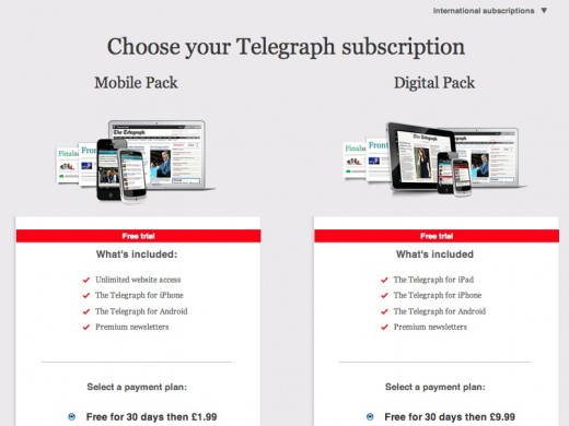 telegraph intl subscription plans 520x390 The Telegraph introduces paywall and subscription plans   but only for non UK readers